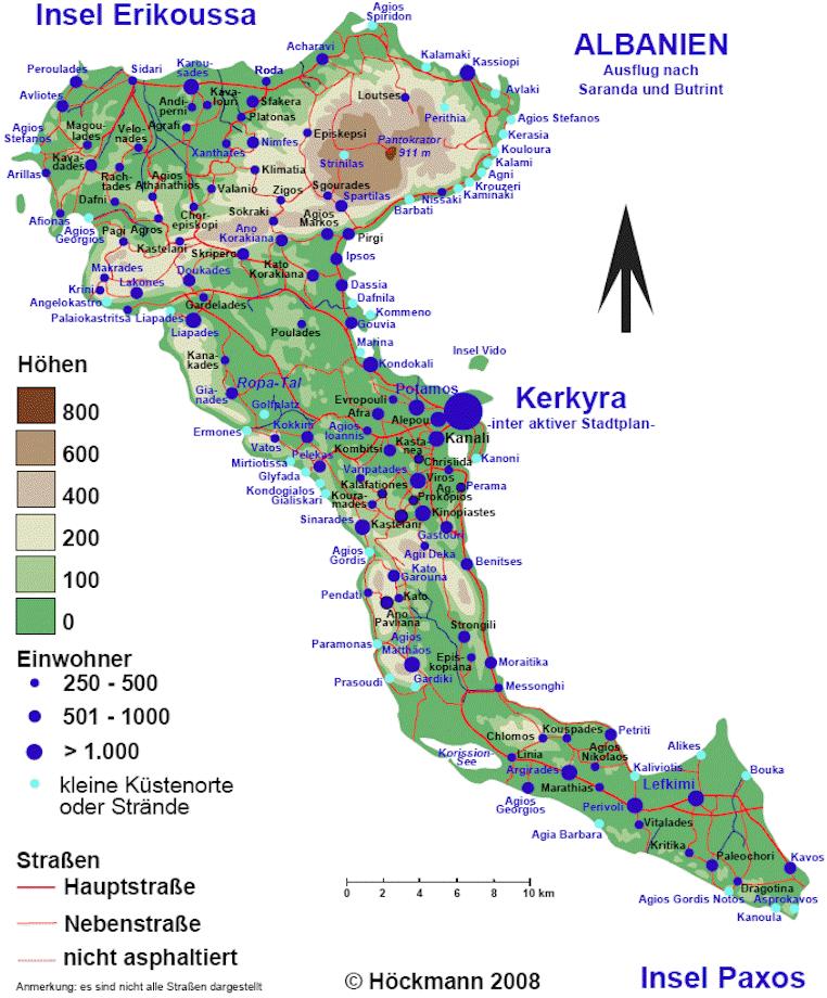 karte korfu Strände auf Korfu