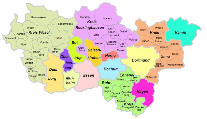 Karte Ruhrgebiet.Kunstdenkmaler Im Ruhrgebiet